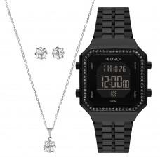 Kit Relógio Euro Preto Feminino EUBJK032AC/K4P