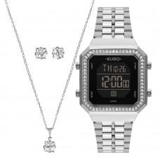 Kit Relógio Euro Prata Digital Feminino EUBJK032AD/K3P
