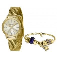 Kit Relógio Lince Dourado Feminino LRGH123L KX11C1KX