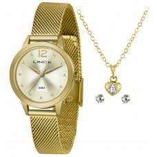 Kit Relógio Lince Dourado Feminino LRGH141L KY25C2KX