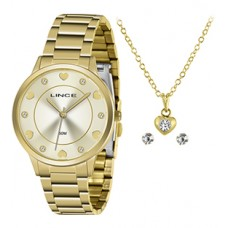 Kit Relógio Lince Dourado Feminino LRGH144L KY34C1KX