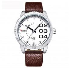 Relógio Masculino Curren Analógico 8125 Marrom e Branco ****