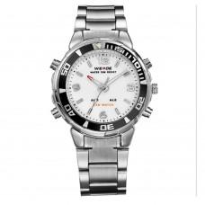 Relógio Masculino Weide AnaDigi WH-843 – Prata e Branco ****