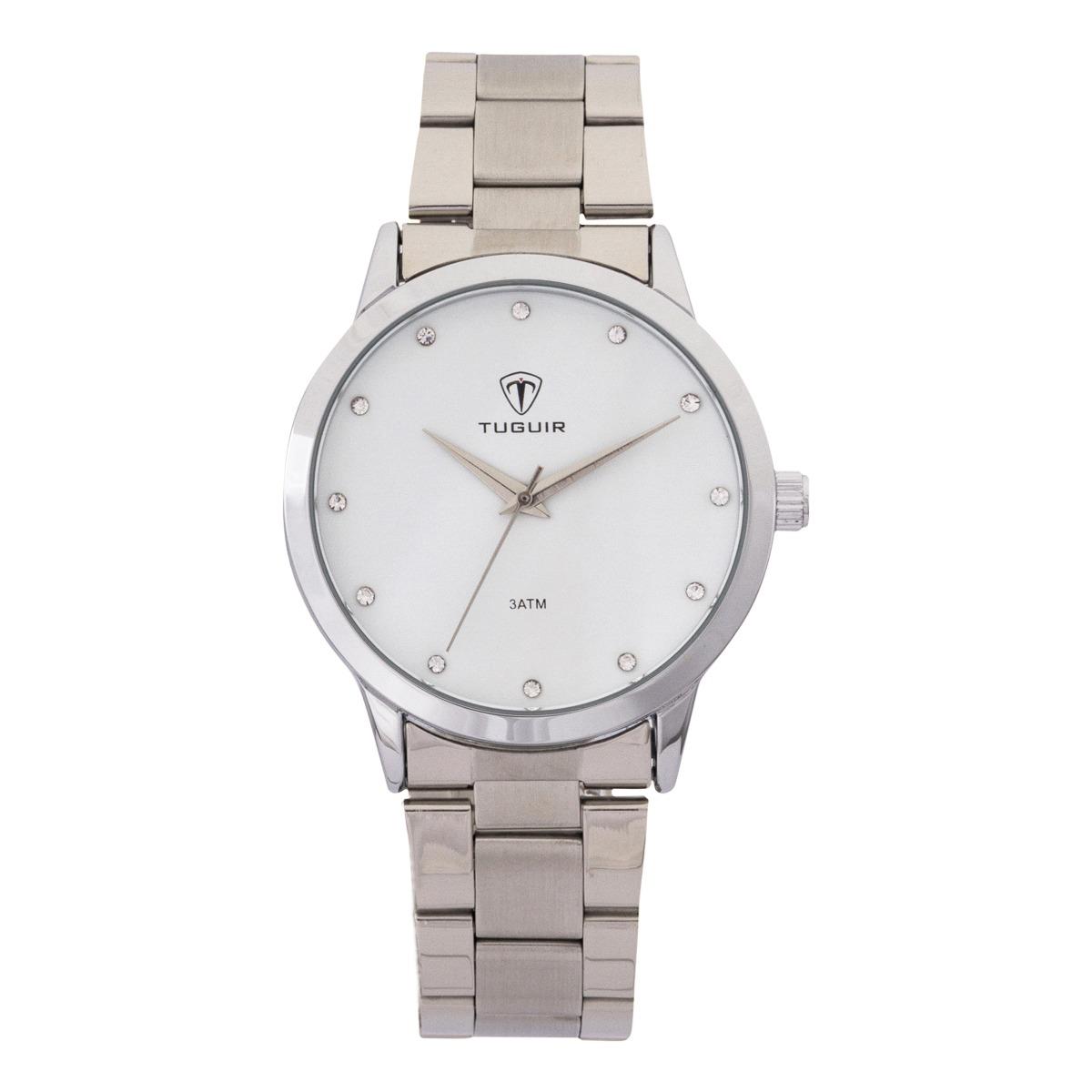 Relógio Feminino Tuguir Analógico TG114 Prata e Branco